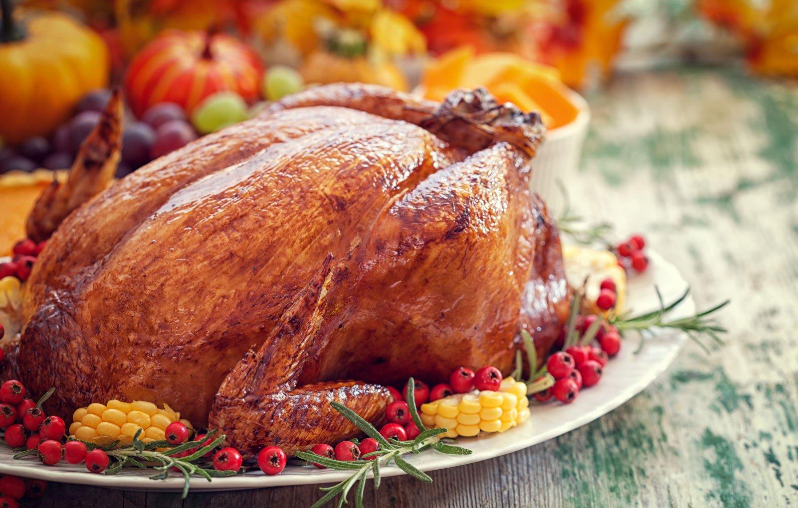 Golden Phoenix roasted turkey with herbs.